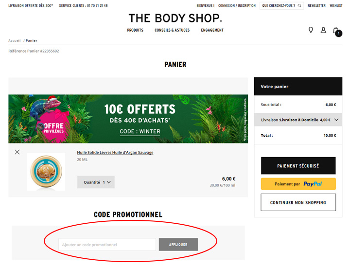 codes promo The Body Shop