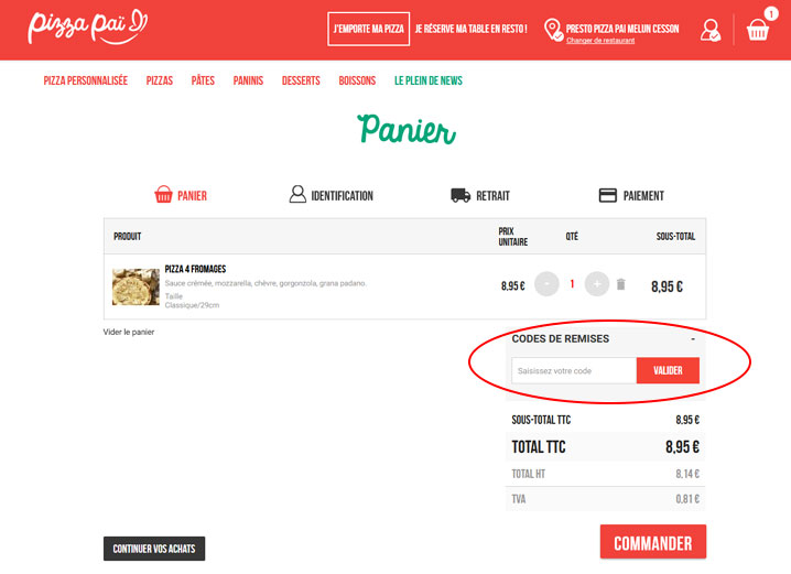 codes promo Pizza Paï