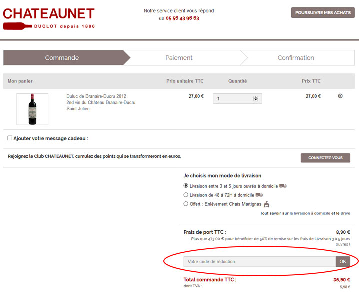 codes promo Chateaunet