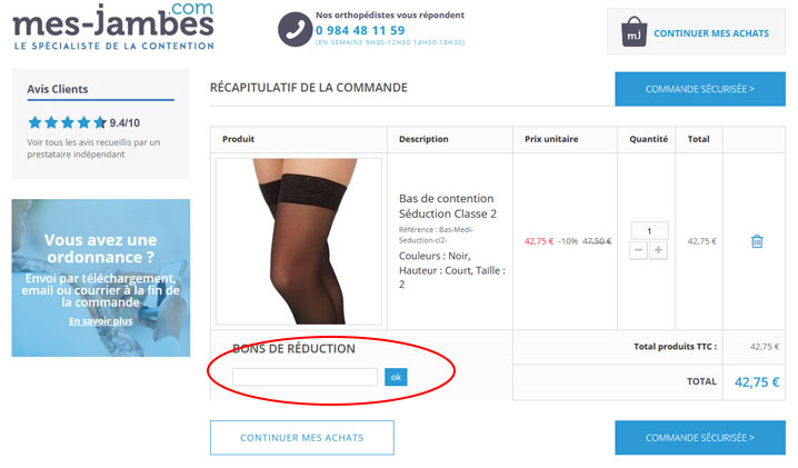 codes promo Mes Jambes