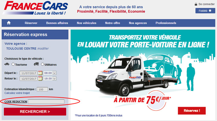 codes promo France Cars