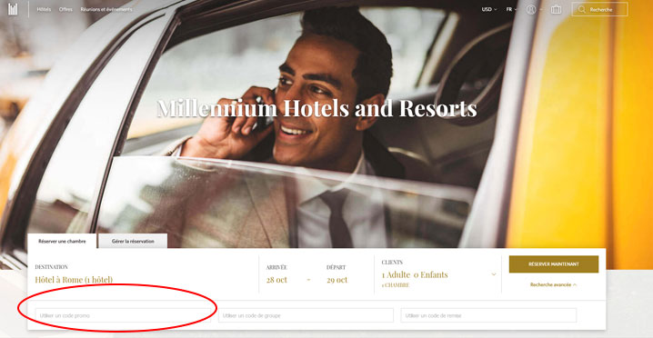 codes promo Millennium Hotels & resorts