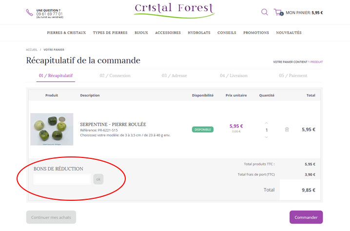 codes promo Cristal Forest