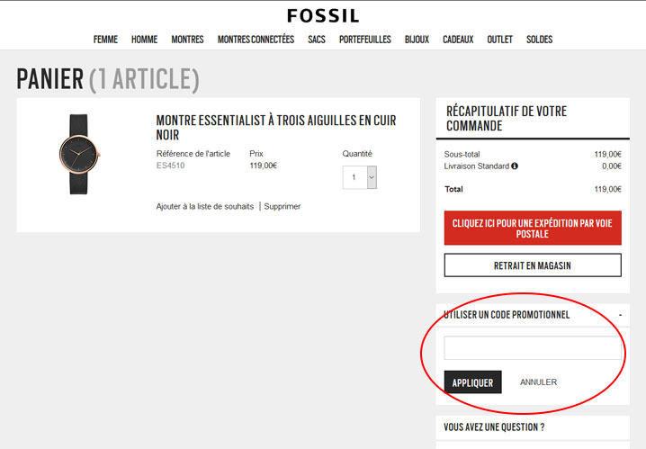 codes promo Fossil