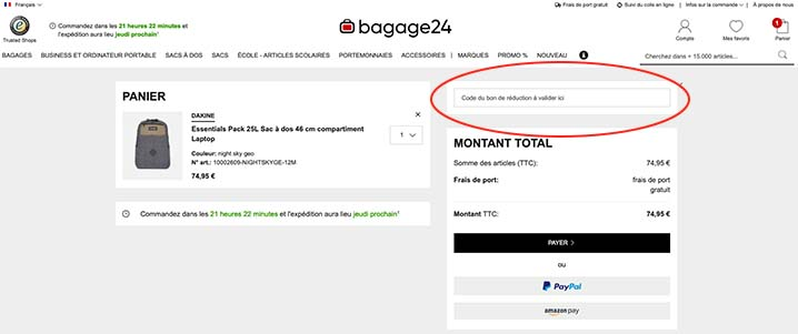 code promo bagage24