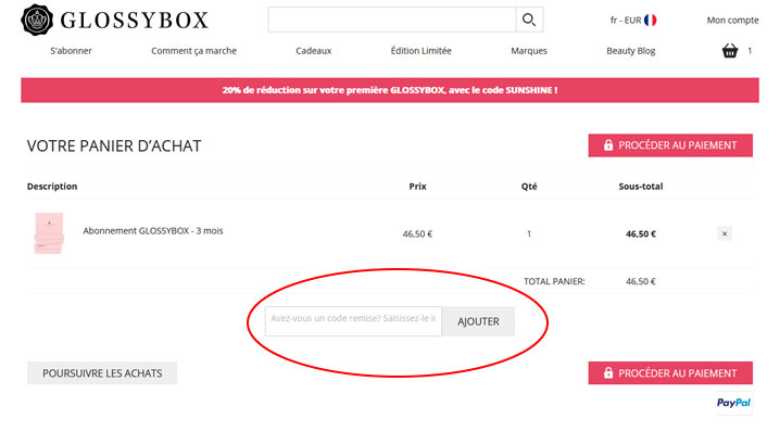 codes promo Glossybox