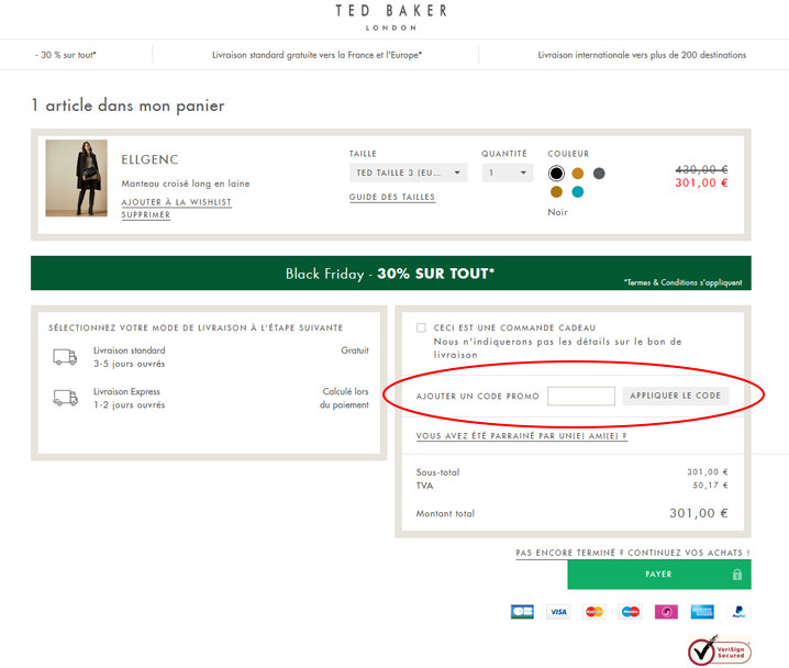 codes promo Ted Baker